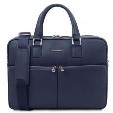 Тёмно-синяя кожаная мужская сумка TREVISO Tuscany Leather TL141986 DARK Blue