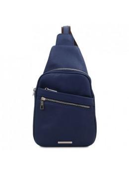 Тёмно-синяя кожаная сумка слинг Tuscany Leather TL142022 Dark Blue