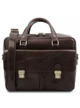 Мужской кожаный портфель SAN MINIATO Tuscany Leather TL142026 Dark Brown