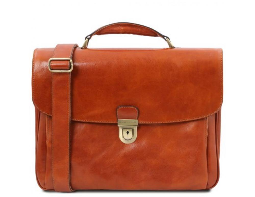 Коричневый кожаный портфель мужской Tuscany Leather TL142067 med
