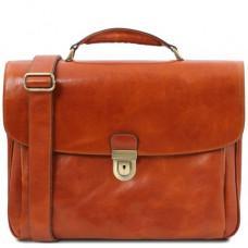 Коричневий шкіряний портфель чоловічий Tuscany Leather TL142067 med