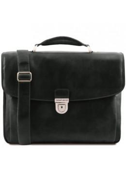 Чёрный большой кожаный портфель мужской Tuscany Leather TL142067 Black