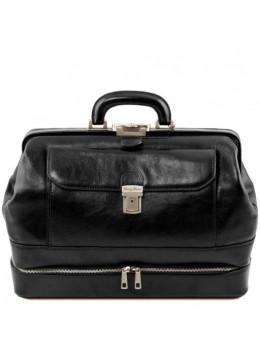 Чорний шкіряний саквояж з відкриваються дном Tuscany Leather TL142071 Black
