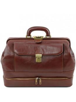 Коричневий шкіряний саквояж з відкидним дном Tuscany Leather TL142071 brown