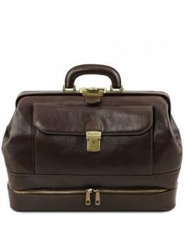 Стильний шкіряний саквояж з відкидним дном Tuscany Leather TL142071 Dark Brown