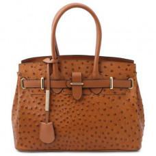 Женская классическая сумка из кожи страуса Tuscany Leather TL142120 COGNAC