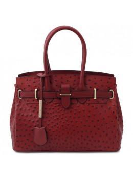 Червона жіноча сумка зі страусиної шкіри Tuscany Leather TL142120 Red