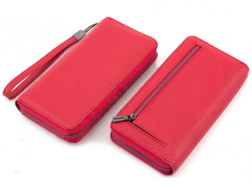 Красный кожаный кошелёк с ремнём Marco Coverna TRW8575R - Фото № 3