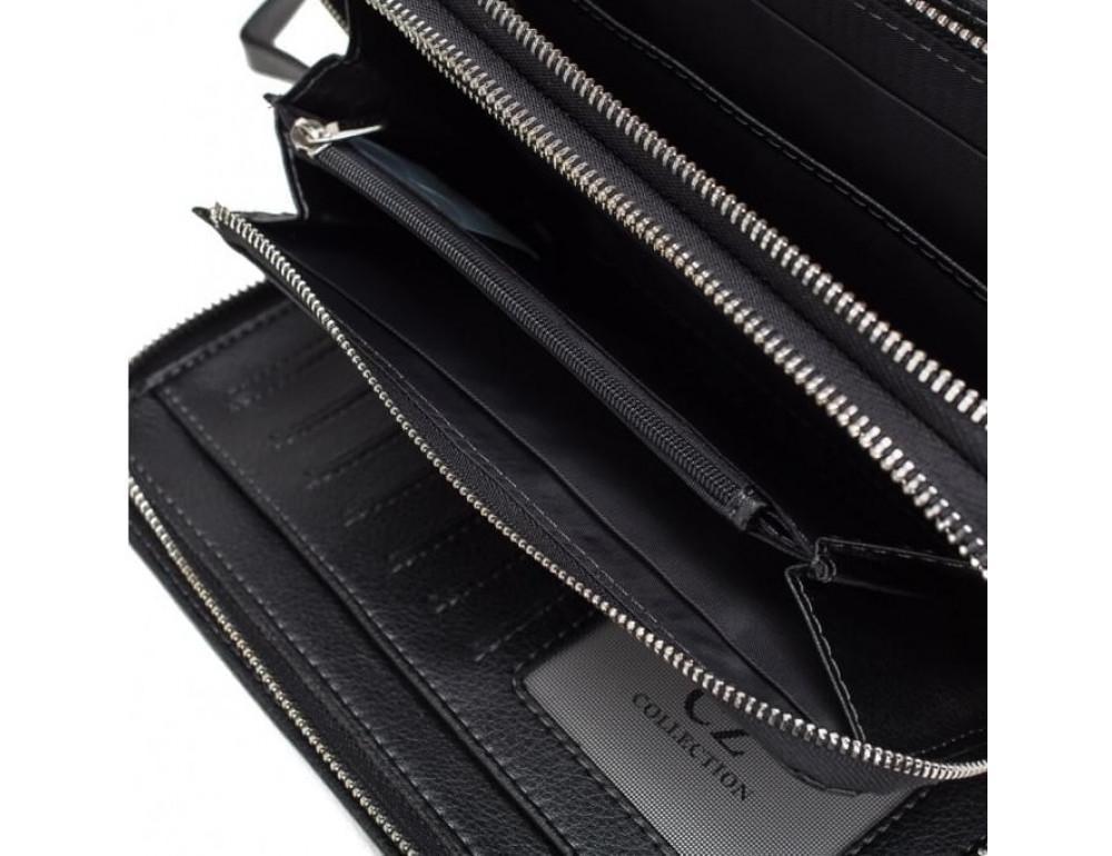 Кожаный клатч Horton Collection TR2M-893 чёрный - Фото № 3