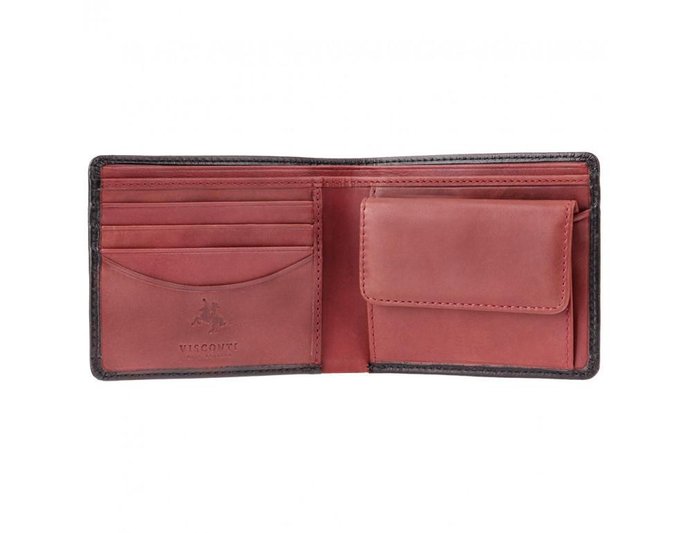 Чёрный брендовый портмоне Visconti TR30 BLK/RED Raffle c RFID - Фото № 2