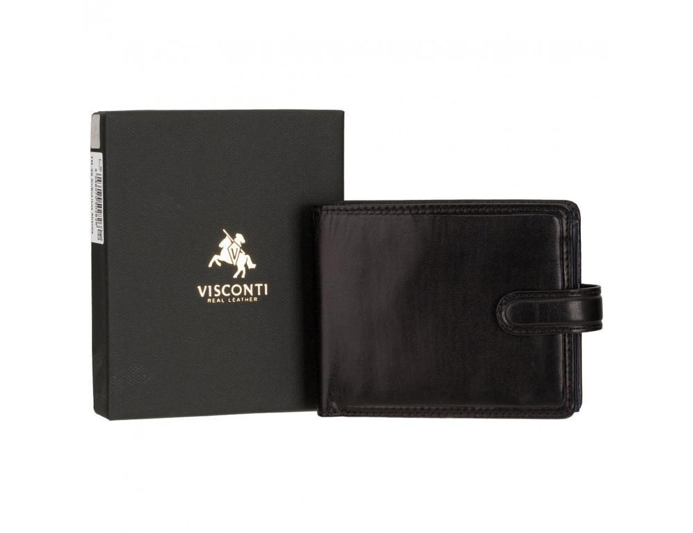 Мужской кожаный кошелек Visconti TR35 - Atlantis чёрный с красным - Фото № 6
