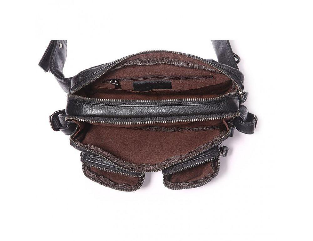 Кожаная сумка на пояс McDee JD7352A чёрная - Фото № 2