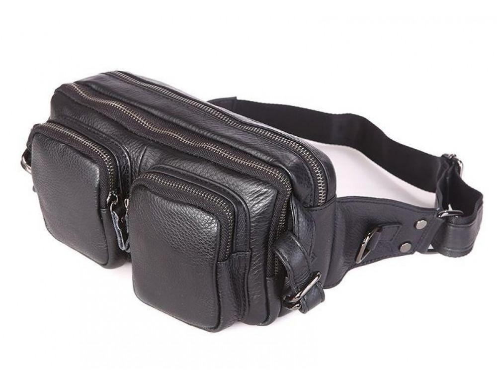 Кожаная сумка на пояс McDee JD7352A чёрная - Фото № 1