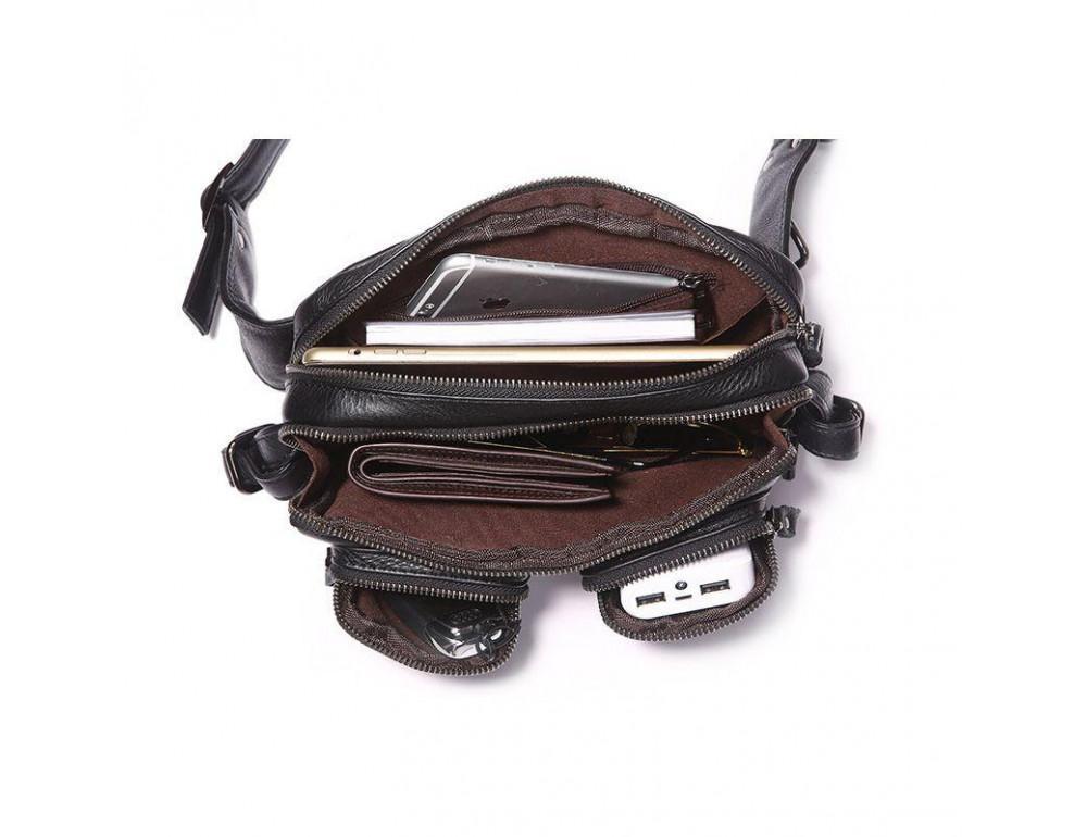 Кожаная сумка на пояс McDee JD7352A чёрная - Фото № 3