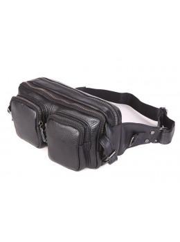 Кожаная сумка на пояс McDee JD7352A чёрная