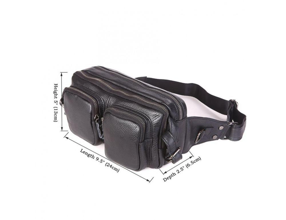 Кожаная сумка на пояс McDee JD7352A чёрная - Фото № 4
