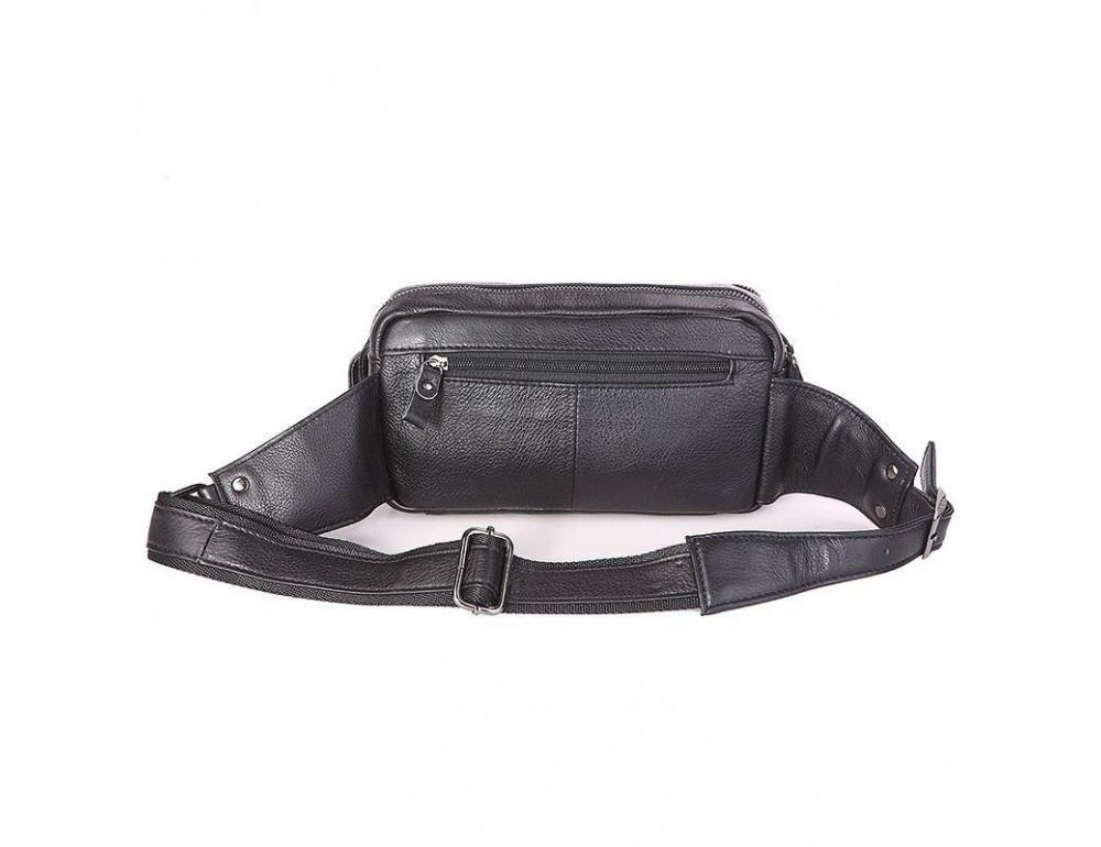 Кожаная сумка на пояс McDee JD7352A чёрная - Фото № 5