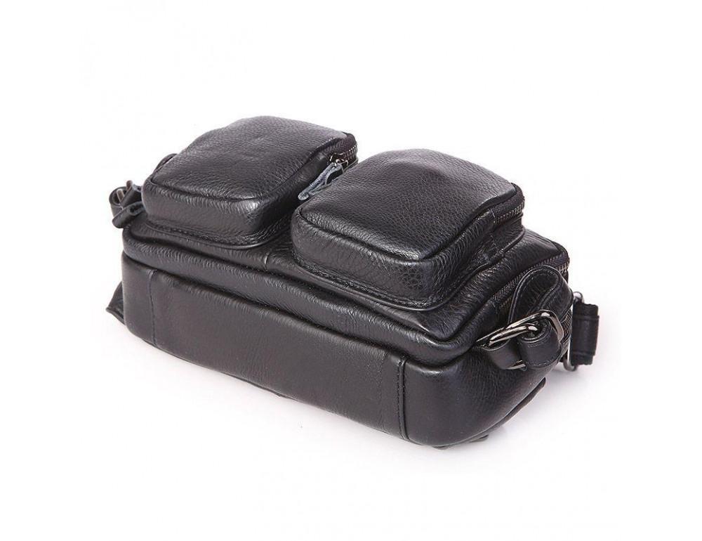 Кожаная сумка на пояс McDee JD7352A чёрная - Фото № 6