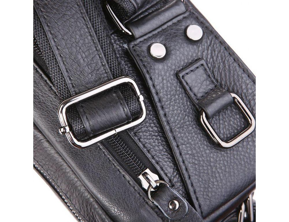 Кожаная сумка на пояс McDee JD7352A чёрная - Фото № 7