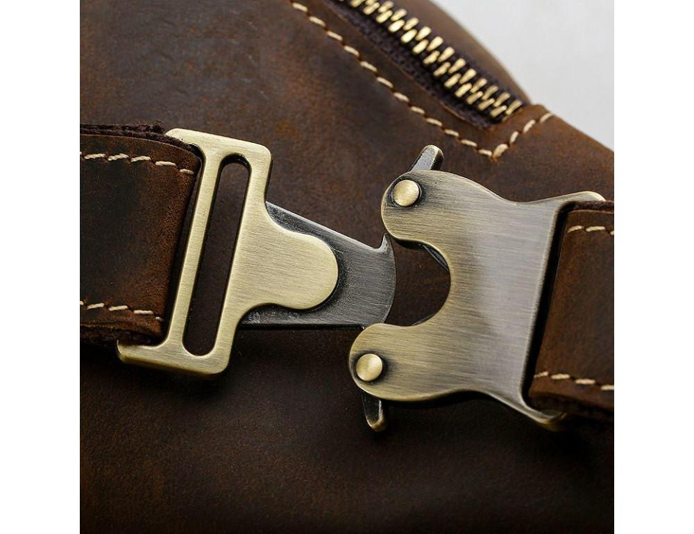 Кожаная сумка на пояс TIDING BAG tid3021 коричневая - Фото № 3