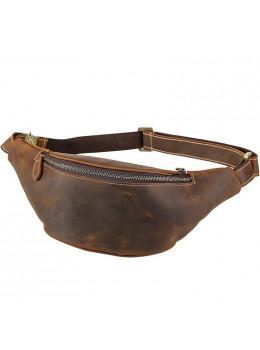 Кожаная сумка на пояс TIDING BAG tid3021 коричневая