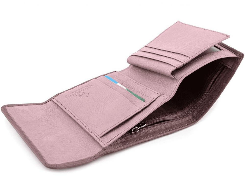 Пудровый кожаный кошелёк на магните Marco Coverna MC-2047A-6 - Фото № 5