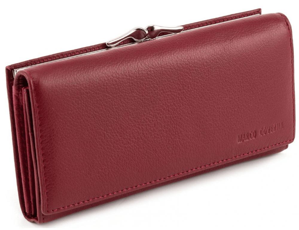 Бордовый кожаный кошелёк на магните женский Marco coverna MC-1412-4 - Фото № 1