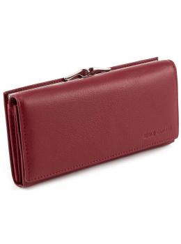 Бордовый кожаный кошелёк на магните женский Marco coverna MC-1412-4