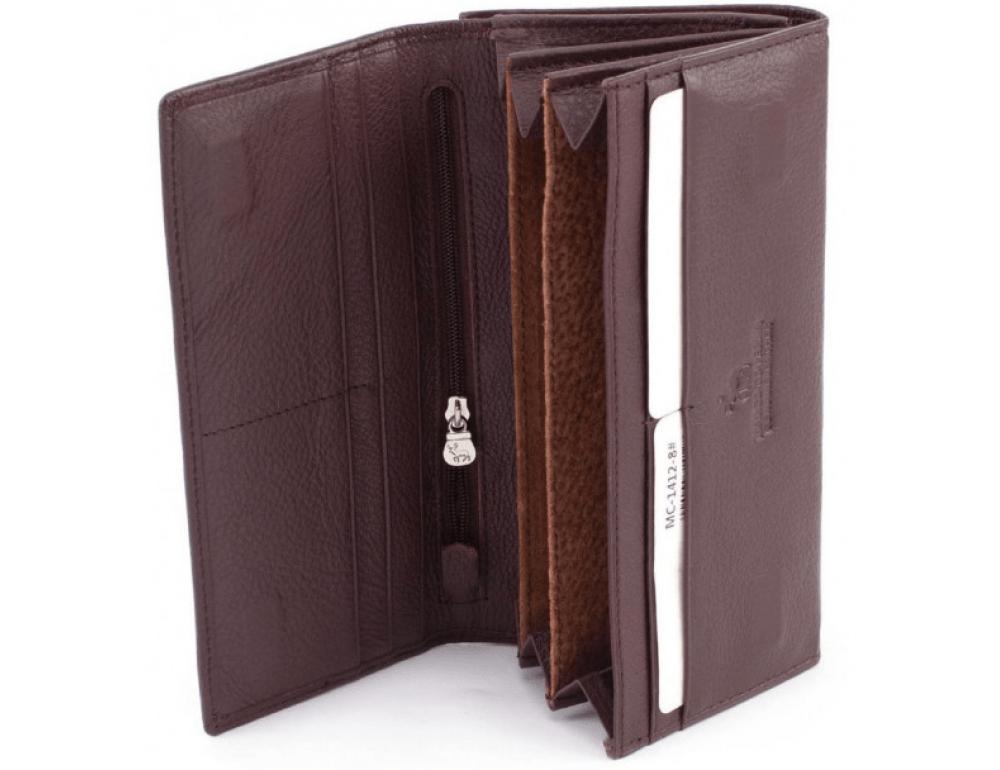Тёмно-коричневый кожаный кошелёк Marco coverna MC-1412-8 - Фото № 2