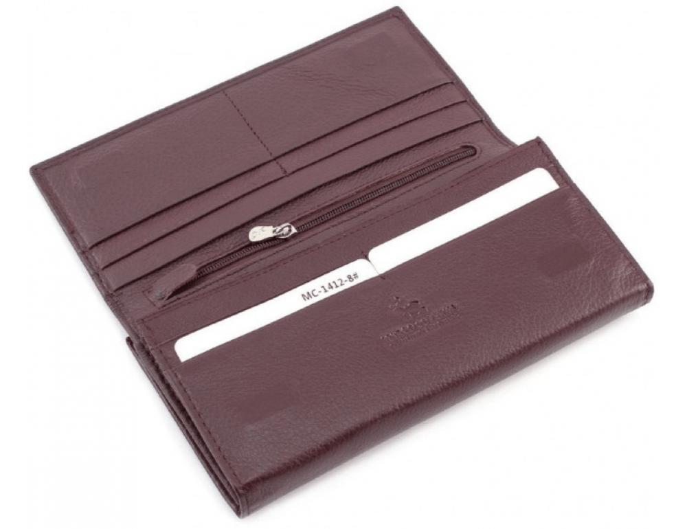 Тёмно-коричневый кожаный кошелёк Marco coverna MC-1412-8 - Фото № 6