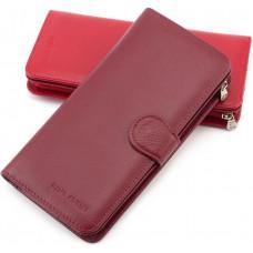 Бордовый кожаный кошелёк на кнопке Marco Coverna MC031-950-4