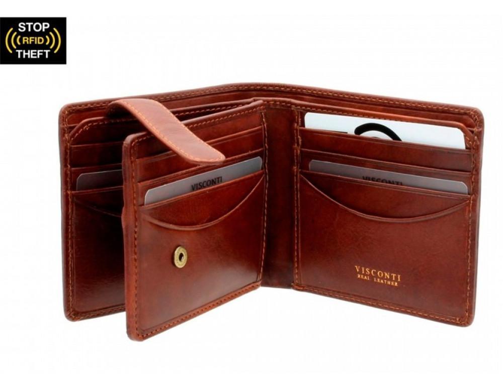 Коричневый мужской кошелек Visconti TSC43 Montieri c RFID (Tan) - Фото № 2