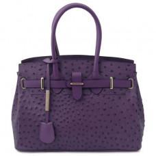 Фиолетовая женская сумка из страусиной кожи Tuscany Leather TL142120 Purple