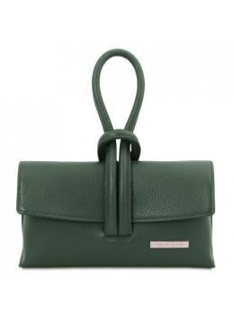 Жіночий шкіряний клатч зеленого кольору Tuscany Leather TL141990 Forest Green