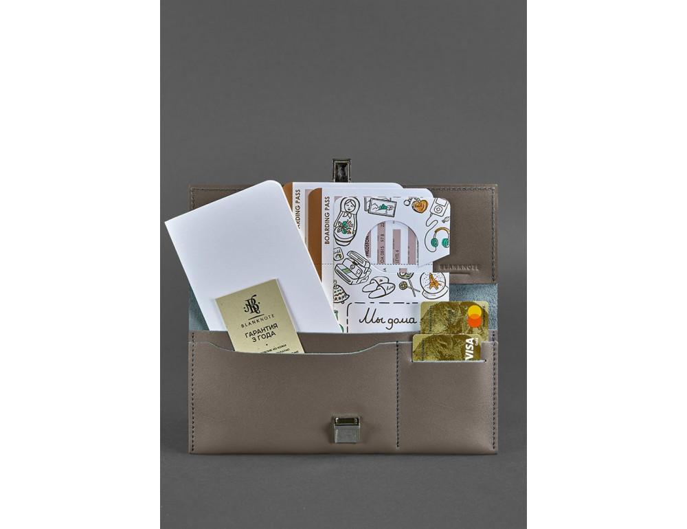 Тёмно-бежевый кожаный портмоне под документы Blanknote BN-TK-2-BEIGE - Фото № 2