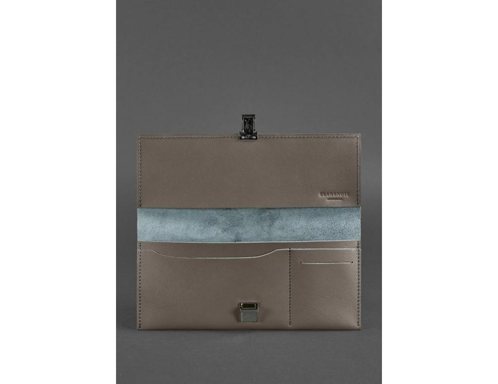 Тёмно-бежевый кожаный портмоне под документы Blanknote BN-TK-2-BEIGE - Фото № 3