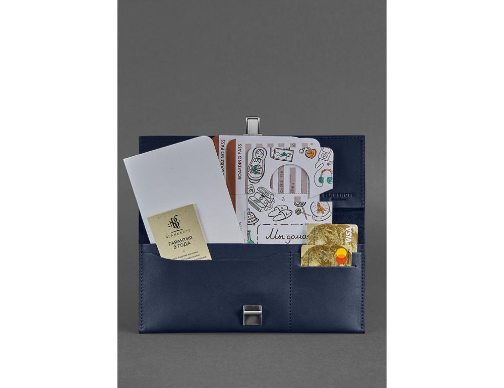 Тёмно-синий кожаный органайзер для документов Blanknote BN-TK-2-NAVY-BLUE - Фото № 2