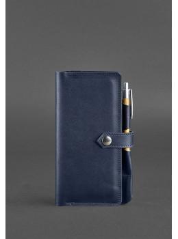 Тёмно-синий кожаный органайзер для документов Blanknote BN-TK-4-NAVY-BLUE
