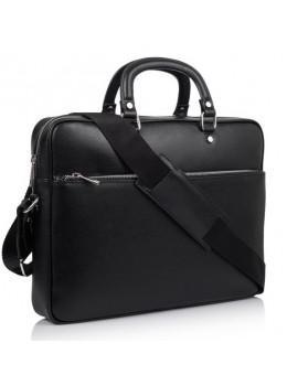 Чорний шкіряний портфель для ноутбука VIRGINIA CONTI V-01184A