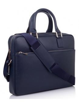 Синій шкіряний портфель для ноутбука VIRGINIA CONTI V-01184B