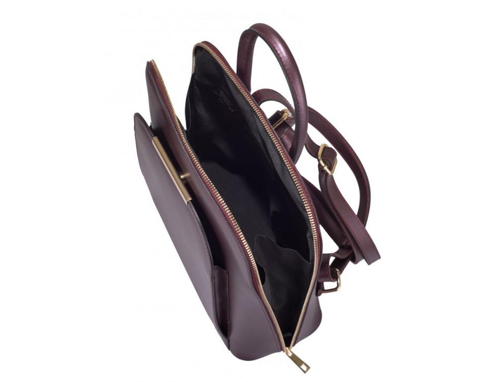 Бордовый кожаный рюкзак трансформер VirginiaConti V01345B - Фото № 4