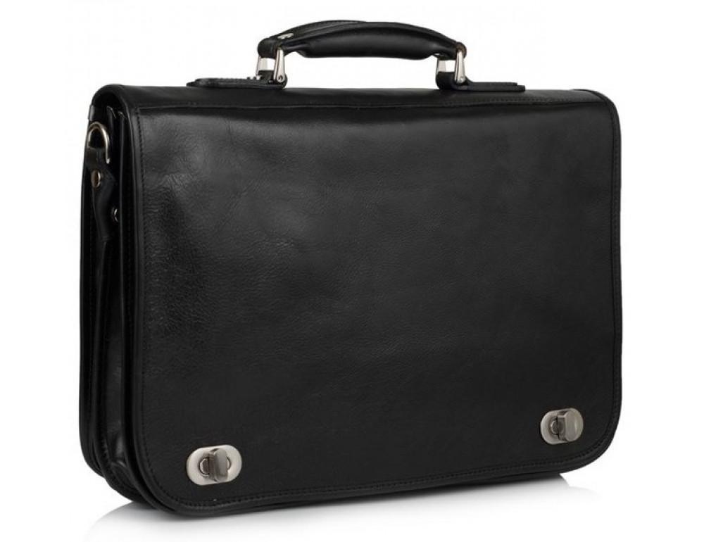 Чёрный кожаный портфель VIRGINIA CONTI V-141305A - Фото № 1