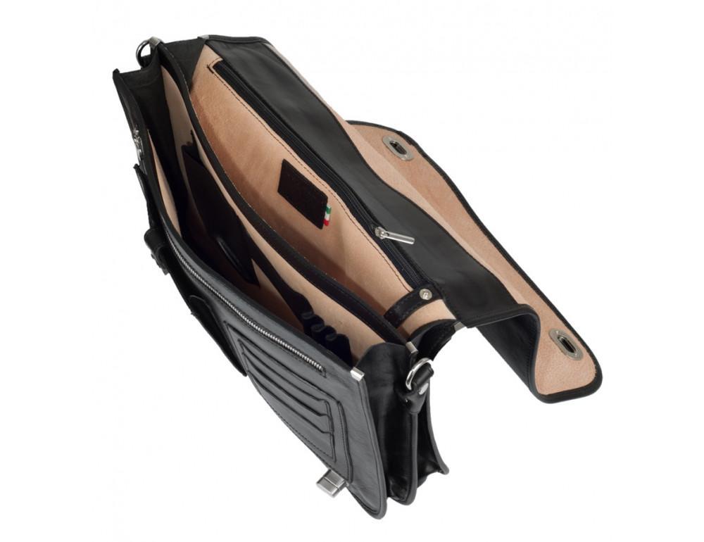 Чёрный кожаный портфель VIRGINIA CONTI V-141305A - Фото № 4