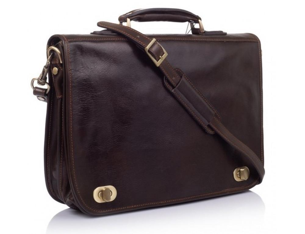 Коричневый кожаный портфель VIRGINIA CONTI V-141305C - Фото № 1