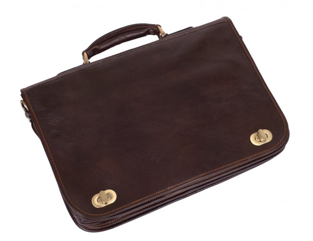 Коричневый кожаный портфель VIRGINIA CONTI V-141305C - Фото № 4