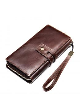 Коричневый клатч из гладкой кожи Vintage V20236C