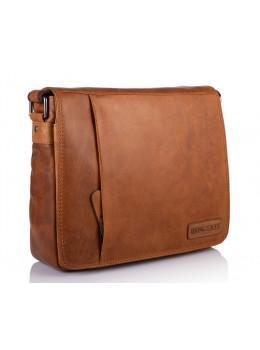 Рыжая кожаная сумка через плечо HILL BURRY 10019HBORANGE-1