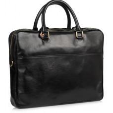 Чёрная кожаная сумка под ноутбук VIRGINIA CONTI VCM01512A