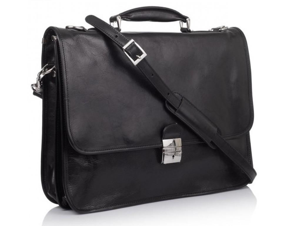 Стильный кожаный портфель VIRGINIA CONTI VCMJN02BLACK - Фото № 1