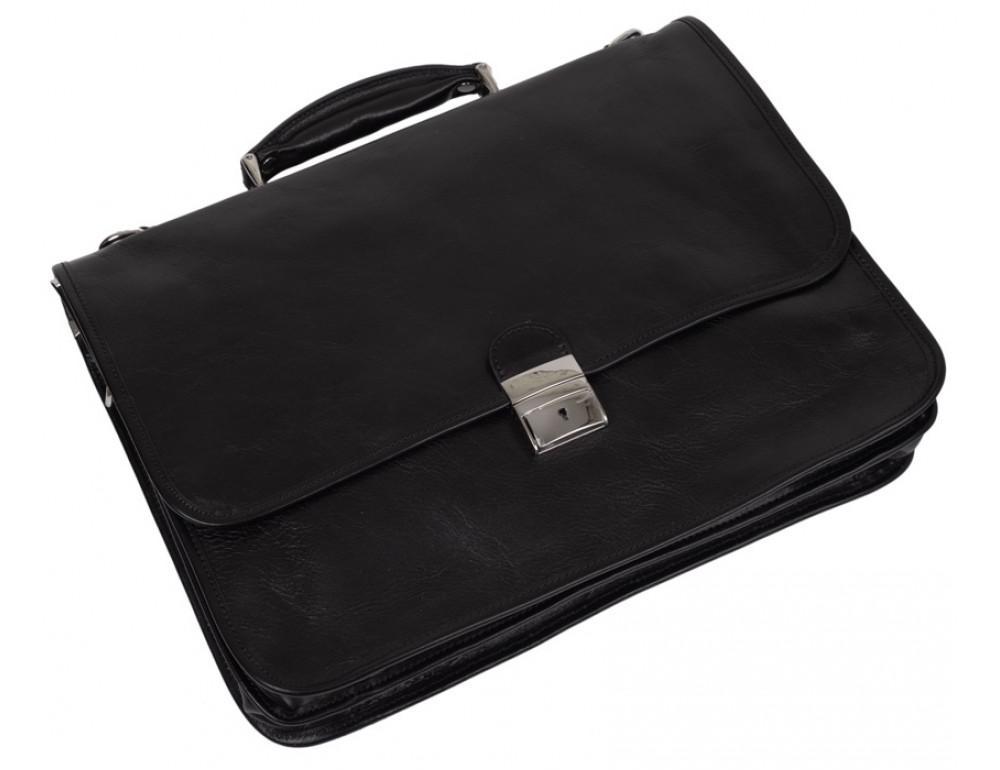 Стильный кожаный портфель VIRGINIA CONTI VCMJN02BLACK - Фото № 4